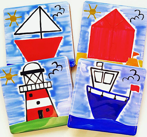 Seaside Coasters Set of 4, Lighthouse, Sailing Boat, Beach Hut, Fishing Boat