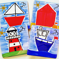 Seaside Coasters Set of 4, Lighthouse,Beach Hut, Boats, Free UK Delivery