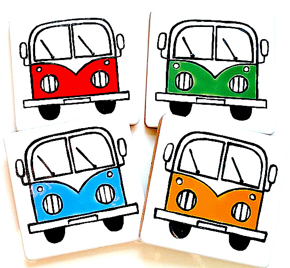 Campervan Coasters Set of 4,Red, Blue, Green, Golden Yellow, Combi Coasters