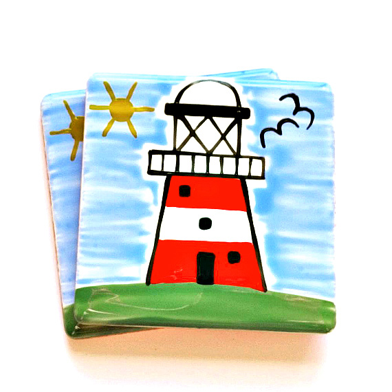 Lighthouse Coaster, Ceramic Coaster, Homewares, Seaside, Nautical, Personalised