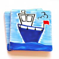 Boat Coaster, Fishing Boat, Ceramic Coaster, Nautical, Seaside, Personalised