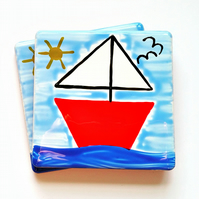 Boat Coaster, Sailing Boat, Ceramic Coaster, Nautical, Seaside, Personalised