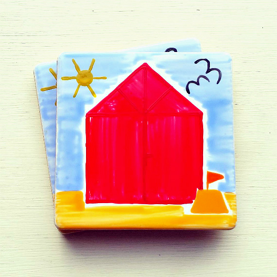 Beach Hut Coaster, Ceramic Coaster, Placemats, Homewares, Seaside, Personalised