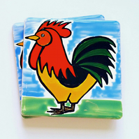 Cockerel Coaster, Ceramic Coaster, Placemats, Homewares, Birds, Personalised