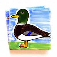 Mallard Coaster, Ceramic Coaster, Placemats, Homewares, Birds, Personalised