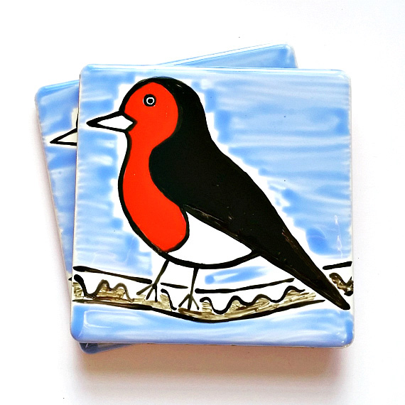 Robin Coaster, Ceramic Coaster, Placemats, Homewares, Birds, Personalised