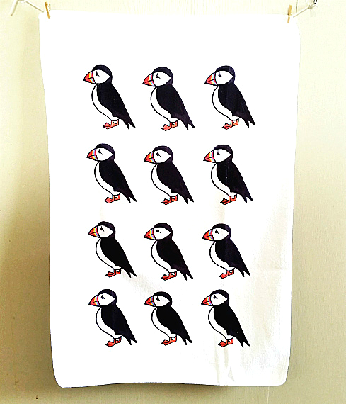 Puffin Tea Towel, Puffin Cloth, Gifts for Mum, For Her, Kitchen Accessories