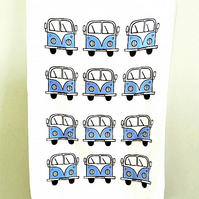 Campervan Tea Towel Blue, Combi, Splitscreen, Kitchen, Gifts for Mum