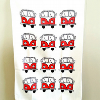 Campervan Tea Towel Red, Combi, Splitscreen, Kitchen, Gifts for Mum