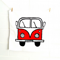 Campervan Face Cloth Red, Combi Flannel, Splitscreen, Bath Accessories