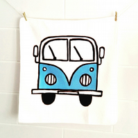 Campervan Face Cloth Blue, Combi Flannel, Splitscreen, Bath Accessories