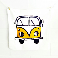 Campervan Face Cloth Yellow, Combi Flannel, Splitscreen, Bath Accessories