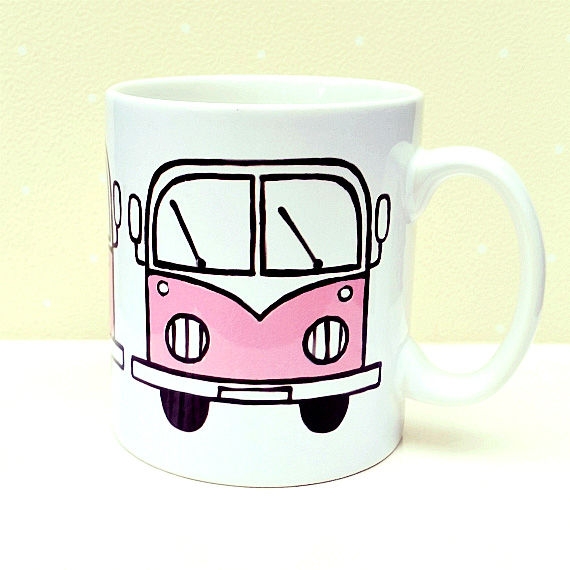 Pink Campervan Mug, Combi Mug, Tea Mug, Coffee Mug, Girl's Gift, Gift for Mum