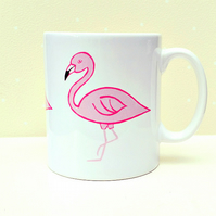 Flamingo Mug, Pink, Bird Mug, Tea Mug, Girl's Gift, Gifts for Mum
