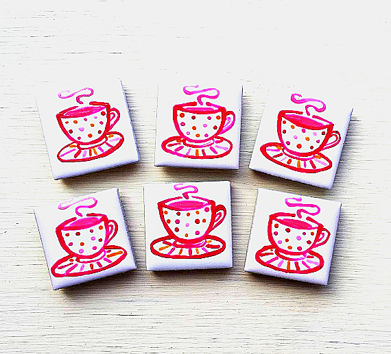 Teacup Magnet, Fridge Magnet, Cup of Tea Magnet, Gift for Teacher, Gift for Mum