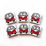 Campervan Magnet Red, Combi Magnet, Splitscreen, Wedding Favours, Fridge Magnet