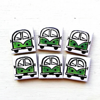 Campervan Magnet Green, Combi, Splitscreen, Wedding Favours, Fridge Magnet