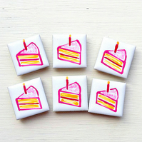 Cake Magnet, Cake Fridge Magnet, Birthday Magnet, Stationary, Gift for Girl