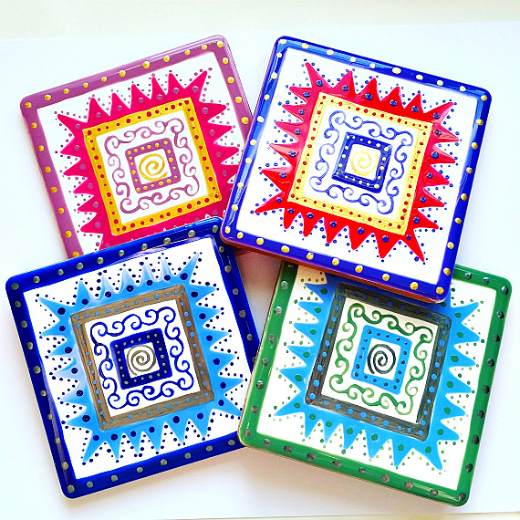 Coasters Set of 4 Patterned, Ceramic Coasters, Purple, Blue, Green, Pink