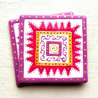 Ceramic Coaster Pink and Gold, Handpainted, Placemat, Homewares, Gift for Home
