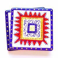 Ceramic Coaster Purple, Red and Gold, Handpainted, Placemat, Homewares