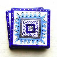 Ceramic Coaster Blues and Silver, Handpainted, Placemat, Homewares