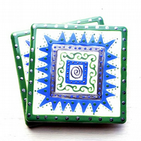 Ceramic Coaster Green, Blue and Silver, Handpainted, Placemat, Homewares