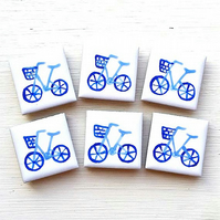 Blue Bike Magnet, Fridge Magnet, Bicycle, Cycling, Gifts for Girls