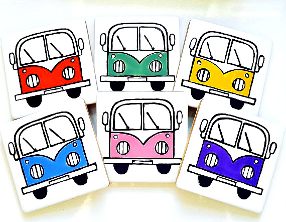Campervan Coasters Set of 6, Red, Blue, Green, Yellow, Pink, Purple, Combi