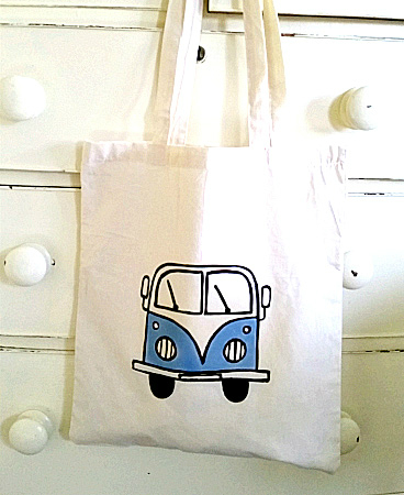 Campervan Bag Blue, Tote Bag, Seaside Tote, Combi Tote, Cotton Tote, Splitscreen