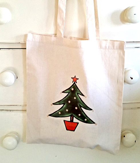Christmas Tree Bag, Tote Bag, Xmas, Christmas Stocking, Cotton Tote