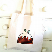 Christmas Pudding Bag, Tote Bag, Xmas, Christmas Stocking, Cotton Tote
