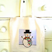 Snowman Bag, Tote Bag, Xmas, Christmas Stocking, Cotton Tote