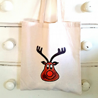 Rudolph Bag, Tote Bag, Xmas, Reindeer, Christmas Stocking, Cotton Tote