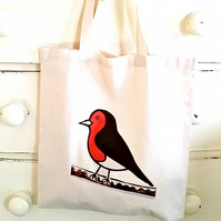 Robin Bag, Tote Bag, Bird Bag, Robin Tote, Bird Tote, Cotton Tote, Reusable Bag
