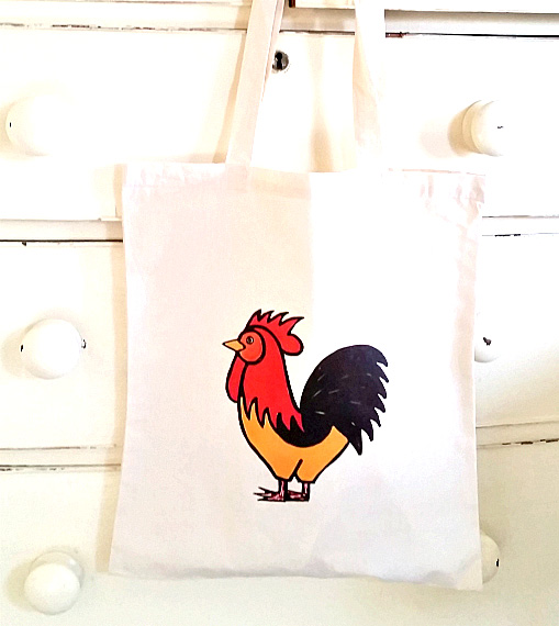 Rooster Tote Bag, Chicken, Bird Tote, Cotton Tote, Shopping Bag, Reusable Bag