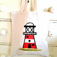 Lighthouse Bag, Tote Bag, Seaside Tote, Cotton Tote, Shopping Bag, Reusable Bag