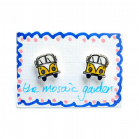 Campervan Earrings Yellow, Combi Studs, Acrylic, For Her, For Mum,