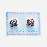 Campervan Earrings Blue, Combi Studs, Acrylic, For Her, For Mum,