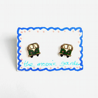 Campervan Earrings Green, Combi Studs, Acrylic, For Her, For Mum,