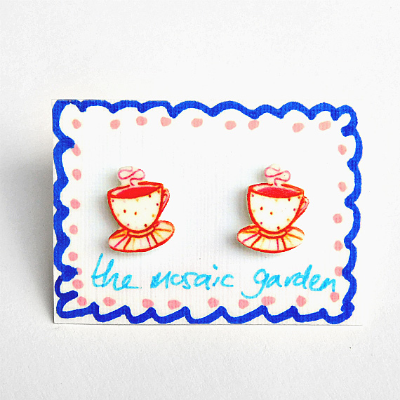 Teacup Earrings Red, Cup of Tea Studs, Shrink Plastic, Gift for Her, For Mum,