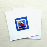 Sailing Boat Card, Nautical Card, Magnet Card, Boat Greeting Card, Blank Card