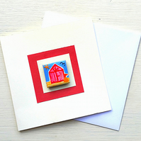 Beach Hut Card, Seaside Card, Magnet Card, Greeting Card, Blank Card