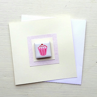 Birthday Card Cupcake, Greeting Card, Magnet Card, Card for Mum, Card for Girl