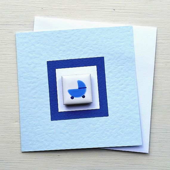 New Baby Card, Baby Boy Card, Magnet Card, Blank Card, Blue, Congratulations