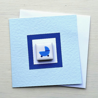 New Baby Card, Baby Boy Card, Magnet Card, Blank Card, Blue