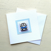 Campervan Card, Birthday Card, Greeting Card, Blank Card, Blue, Combi Card