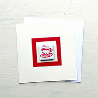 Birthday Card, Teacup, Cup of Tea, Magnet Card, Greeting Card, Blank Card,