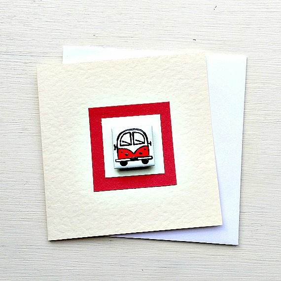 Campervan Card, Birthday Card, Greeting Card, Blank Card, Red, Combi Card