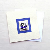 Campervan Card, Birthday Card, Greeting Card, Blank Card, Purple, Combi Card